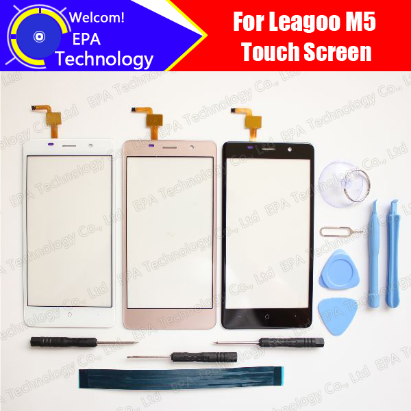 5.0 pollice leagoo M5 Touch Screen In Vetro 100% di Garanzia Originale New Glass Panel Touch Screen Per M5 + strumenti + adesivo