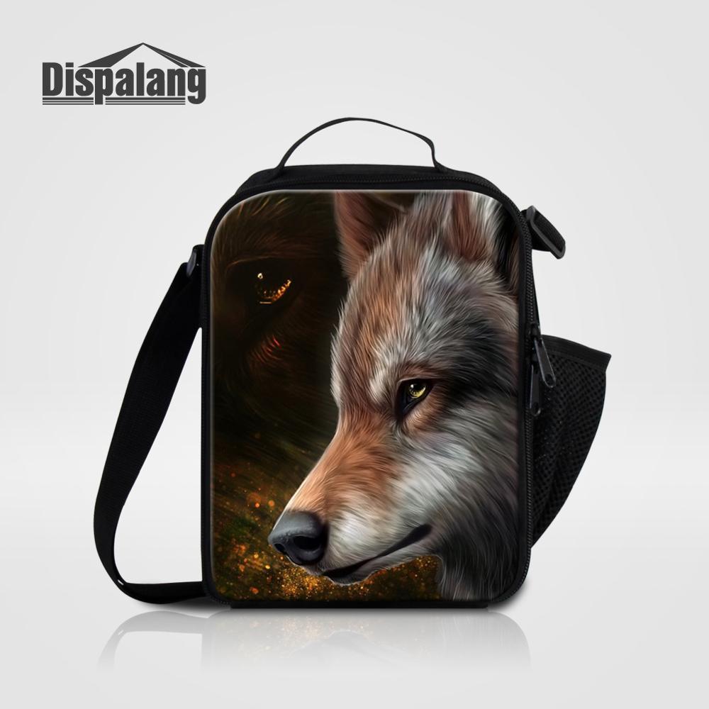 Мужские Термо-холщовые сумки для ланча, лисы, волка, динозавра, змеи, для мальчиков, сумка-холодильник для еды, пикника, Детская маленькая сумка-Ланч-бокс на молнии для школы - Цвет: Lunch Bag11