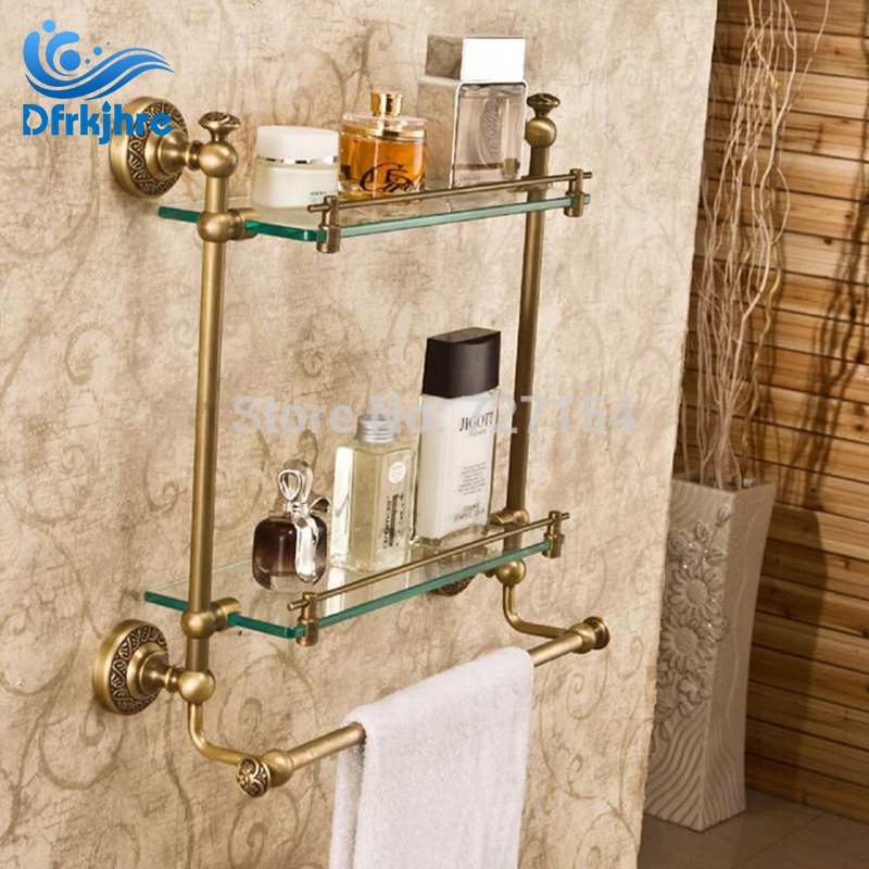 Free Shipping Euro Style Antique Brass Bathroom Shelf Storage Holder Dual Tiers With Towel Bar