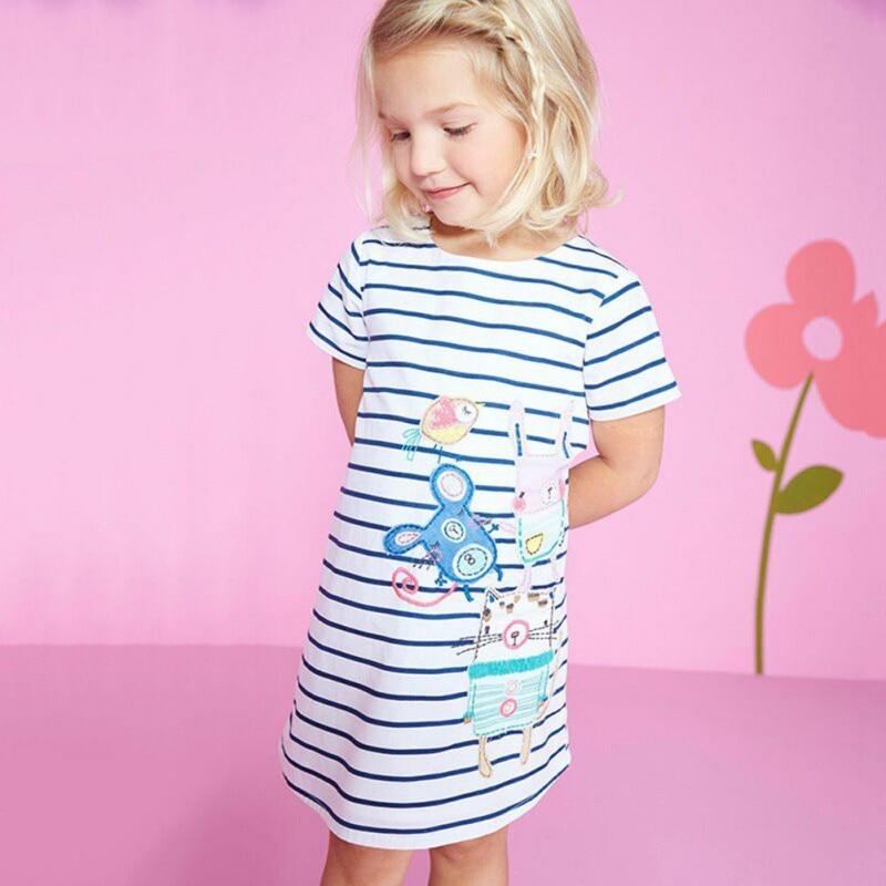 Girls Cotton Dress Striped 2017 Brand Summer Princess Dress Cartoon Robe Fille Tunic Children Costume for Kids Dresses фрутоняня яблоко и груша со сливками пюре с 6 месяцев 12 шт по 250 г