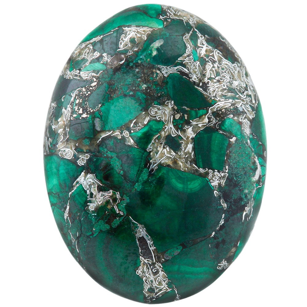 TUMBEELLUWA 1Lot (5Pc) 22x30mm Malachite Stone Oval CAB Cabochon Flatback Stone For Jewelry Making