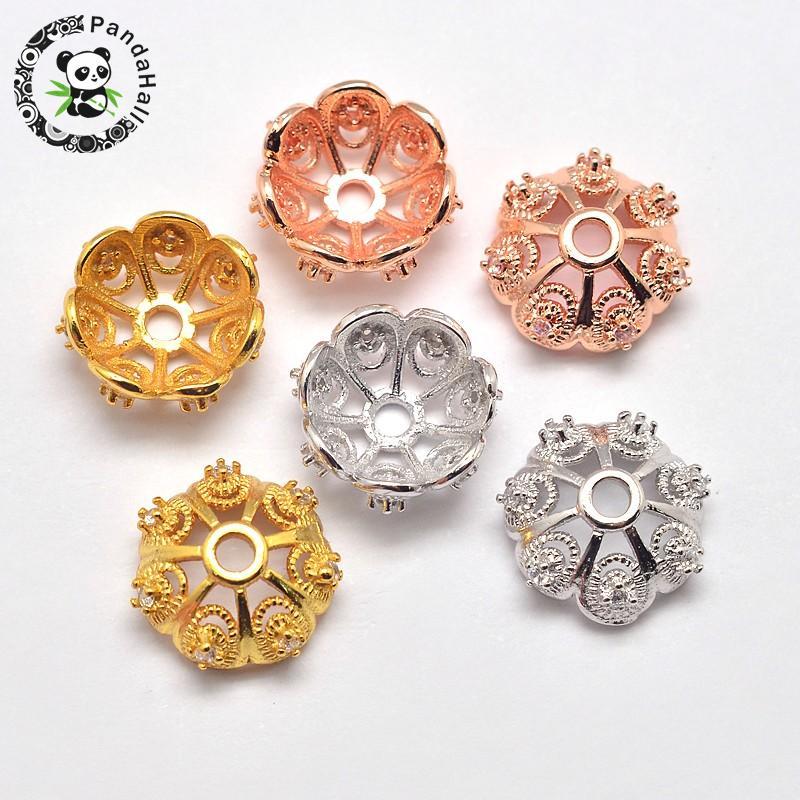 CZ латунь микро проложить кубического циркония цветок из бисера шапки, кадмия и Никель и свинец, смешанные Цвет, 11×5 мм, отверстие: 1,5 мм