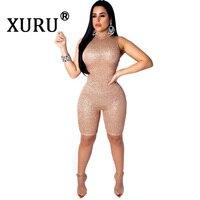 XURU Summer New Women's Sexy Sequins Jumpsuit Fashion Slim Fit Jumpsuit Sexy Nightclub Gold Silver Black Jumpsuit