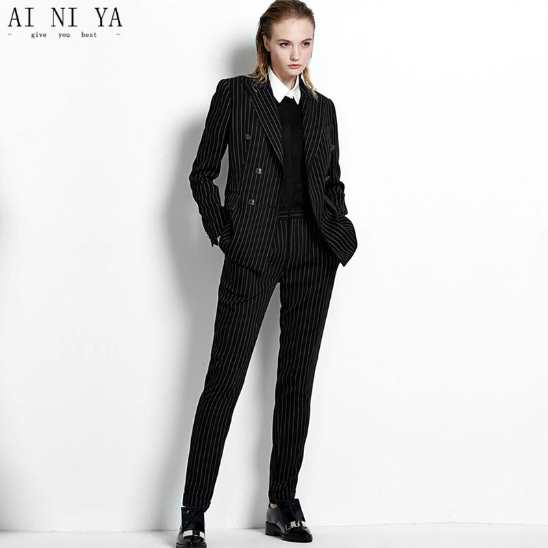 Women Pant Suits Casual Office Business Suits Formal Work Wear Sets Female Office Uniform Black White Stripes Double-Breasted