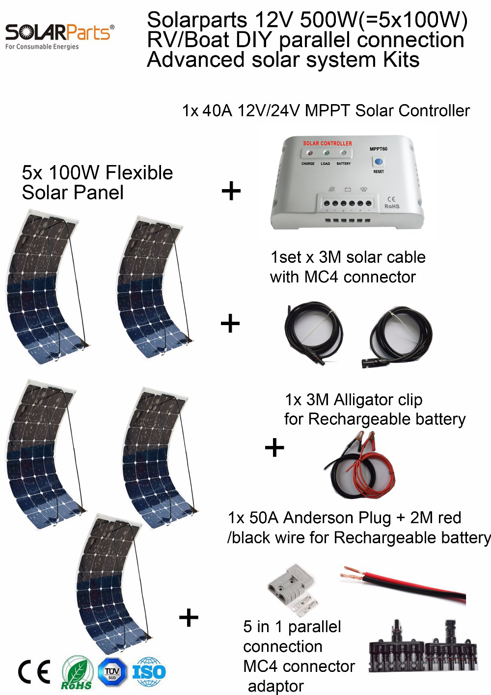 Solarparts 500W DIY RV/Marine Kits Solar System 5x100W flexible solar panel 12V, 1 x 40A MPPT solar controller set cables cheap solarparts 2x 180w flexible solar panel cell system diy kits 12v for rv boat home front junction box mc4 connector 125 125mm sun