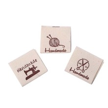 50pcs Cotton Clothing Labels Handmade Embossed Tags DIY Flag Labels For Garment Sewing Accessories