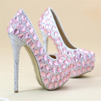 8cm/10cm/12cm/14cm Women Fashion princess Crystal shoes Wedding shoes Bride High heeled shoes Pink silvery Waterproof Wedding sh