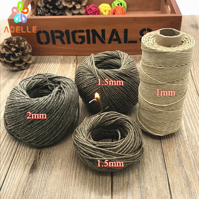Organic1/1.5/2mm* 50ft (15m) Hive Hemp Wick Bees Waxed hemp Twine Cord cigarette lighter candle craft free shipping high quality