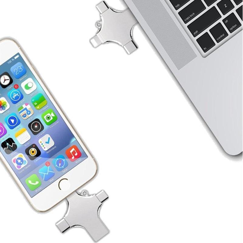 4 in 1 Type-c Lightning-Micro USB OTG-and USB 2.0 U Disk Flash Drive for iPhone Xiaomi Tablet PC Multifunctional U Disk Flash аксессуар usams u shine series us sj181 usb lightning 1 2m blue
