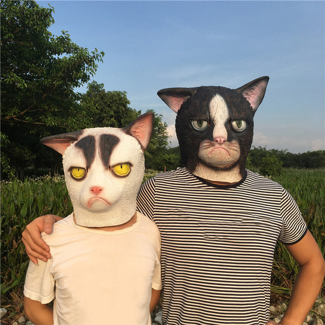 Unhappy Cat Head Latex Mask Sober Black White Cat Couple Mask Halloween Cosplay Costume Prop Breathable & Unhappy Cat Head Latex Mask Sober Black White Cat Couple Mask ...
