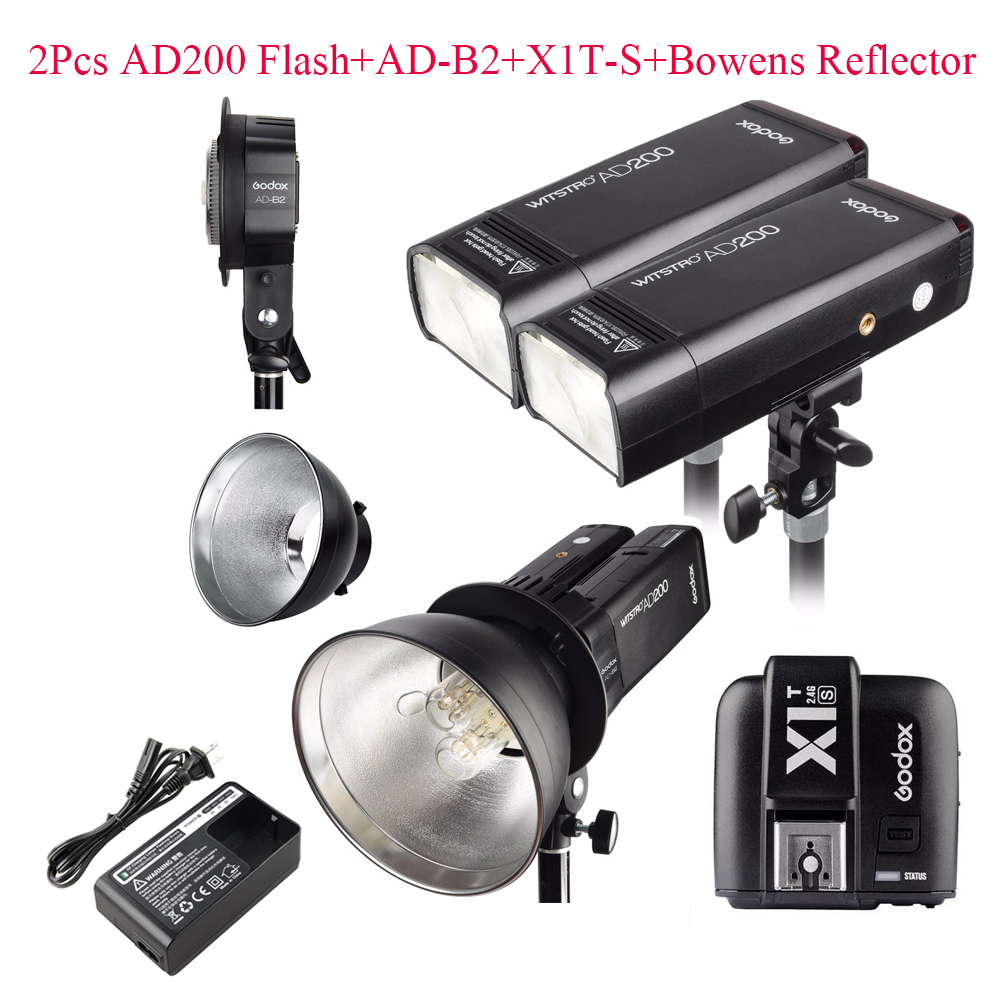Godox AD200 2.4G TTL Flash 2Pcs + AD-B2 + X1T-S + Bowens Reflector 400W Strobe Flash for Sony,Godox AD200 TTL Flash for Sony sony sony hvl f45rm flash