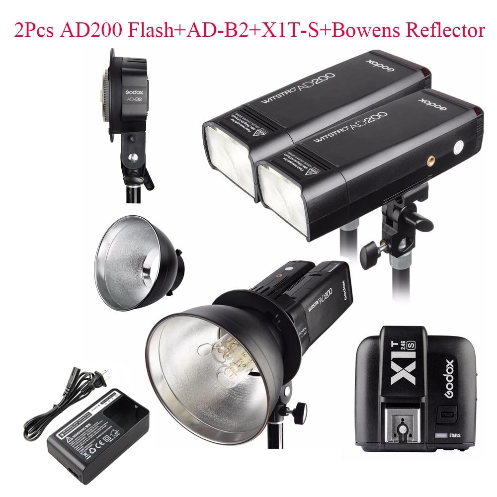 Godox AD200 2.4G TTL Flash 2Pcs + AD-B2 + X1T-S + Bowens Reflector 400W Strobe Flash for Sony,Godox AD200 TTL Flash for Sony sony sony hvl f45rm flash