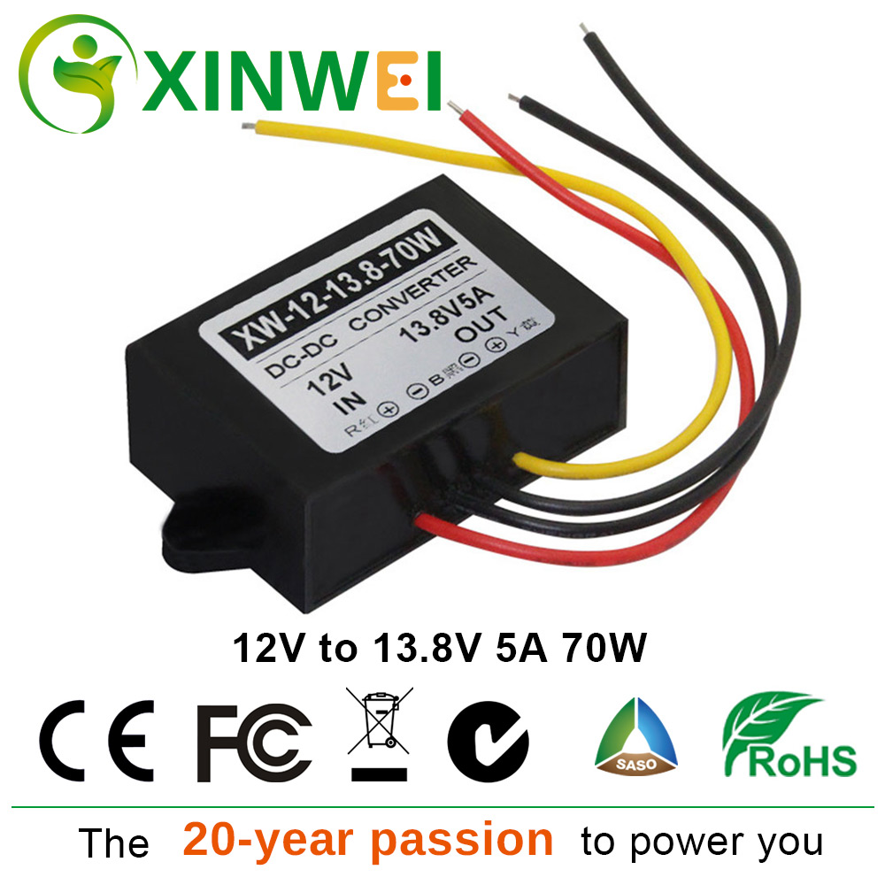 XINWEI DC 12V Step Up To DC 13 8V 5A 70W Converter Plastic Voltage Regulators Stabilizers