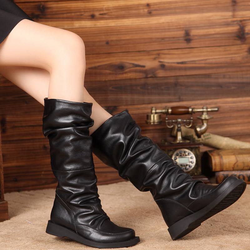 Pleated Mid-Calf Boots For Women Winter Fur Wrinkle Boots Lady Natural Leather Slip-On Soft Female Warm Shoes Big Size 41
