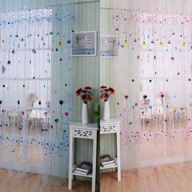 Balloon Tulle Voile Door Window Curtain Drape Panel Sheer Scarf Valances Pink BluePTSP