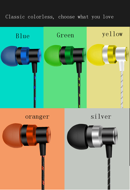 3.5mm Bass Stereo Wired Earphone In-Ear Sport Metal Earphone for Smartphone for Android Phone Without Microphone Reduce Noise