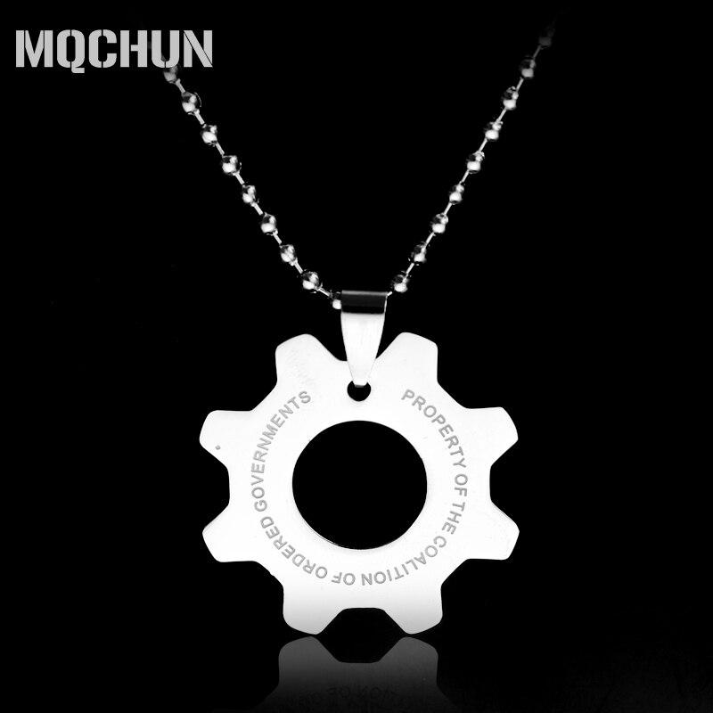 Game Jewelry Gears of War 4 Cog Dog Tag Memorabilia Pendant Necklaces Gear Shape Silver Pendant Choker Necklaces -30