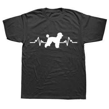 Heartbeat Poodle Dog Pet Animals Boyfriend T Shirts Funny Graphic Fashion New Cotton Short Sleeve O-Neck T-shirt