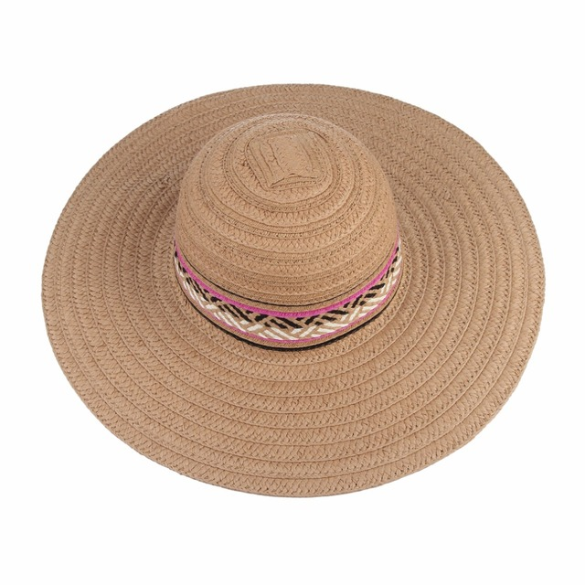 257087f123183 Vintage Ethnic Large Brim Beach Sun Hats for Women Handmade Patchwork Straw  Hat Panama Summer Caps