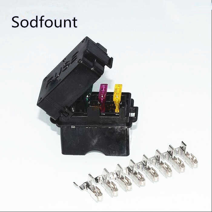 4 Way Black Car Medium Relay Fuse Box embly with 8pcs ...  Terminal Fuse Box on