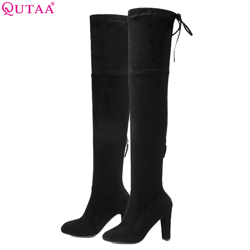 QUTAA 2019 Women Over The Knee High Boots All Match Round Toe Flock Winter Shoes Sexy Square High Heel Women Boots Size 34-43 цена