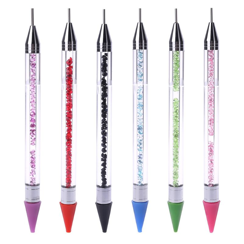 14.5cm Dual-ended Dotting Pen Nail Art Rhinestone Handle Picker Wax Pencil Crystal Bead 6 Color