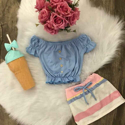 Nieuwe ONS Infant Kids Baby Meisjes Mode Gestreepte Button Tops + Kleur Streep Rok Zomer Casual Outfits Kleding