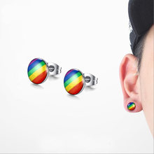 Rainbow Earring Gay Pride Stainless Steel Stud Earrings Men and Women Jewelry(China)