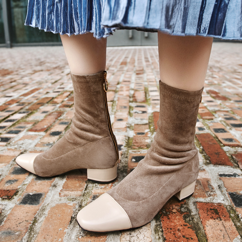 Casidueho Women Short Boots Suede Leather Flats Dress Shoes Woman Vintage Square Toe Motorcycle Booties Big Size tenis feminino 2017 brand new women short designer boots flat dress shoes woman gladiator big size cool rain booties outwear casual shoes