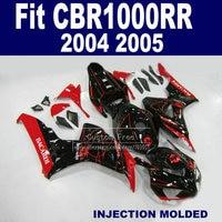Custom Injection fairing set for 2004 2005 Honda CBR1000RR CBR 1000 RR 04 05 CBR 1000RR black BACARDI fairings parts