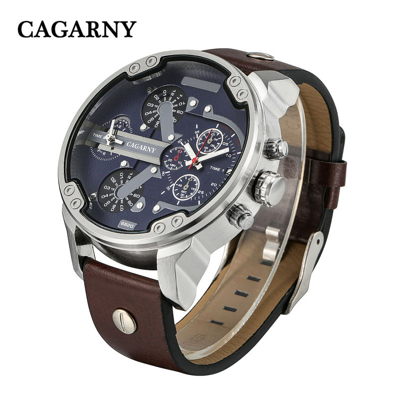 CAGARNY Top Brand Big Men's Fashion Luxury Leather Strap Quartz Watch Date Display Japanese Move Luxury Clock Relogio Masculino