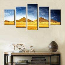 5 Pieces Home Decor Oil Painting Egyptian Pyramids HD Print on Canvas Wall Art Picture for Living Room No Frame Custom Wholesale