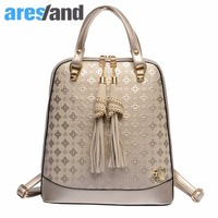 Aresland 2017 New Fashion Women Backpack PU Leather Quilting Backpack Embossing Shoulders Bag For Teenagers Ladies