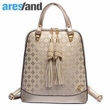Aresland 2017 новые моды для женщин рюкзак искусственная кожа лоскутное рюкзак тиснение плечи мешок для подростков/дамы