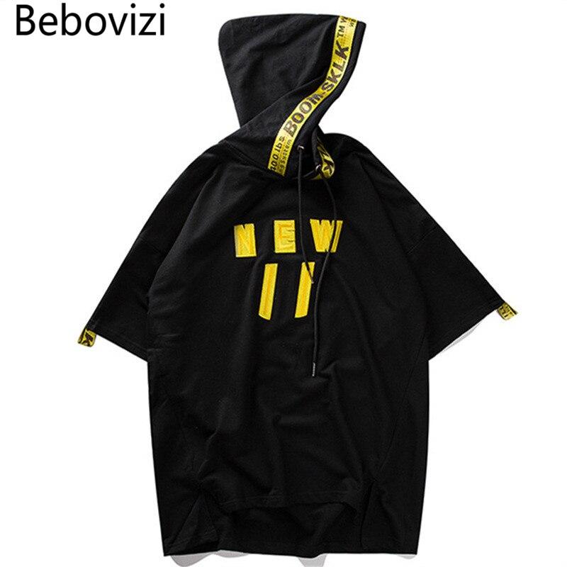 c1a53e030e7b4 Aliexpress.com  Comprar Bebovizi Hip Hop camiseta para hombre con capucha  diseñador manga corta calle botín fresco cinta bordado camiseta urbana de  ...