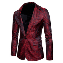 Men Casual suit coat New Arrivals mens slim fashion autumn single button Cashew flowers pattern silk cloth Suit men EU/US size