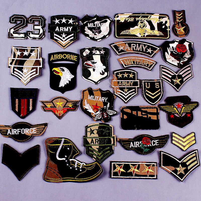 Esercito Militare Toppe e Stemmi Ricamo ferro sulla Toppe e Stemmi Per Abbigliamento FAI DA TE Strisce Applique Bandiera Patch Sui Vestiti USA Air force Distintivi e Simboli