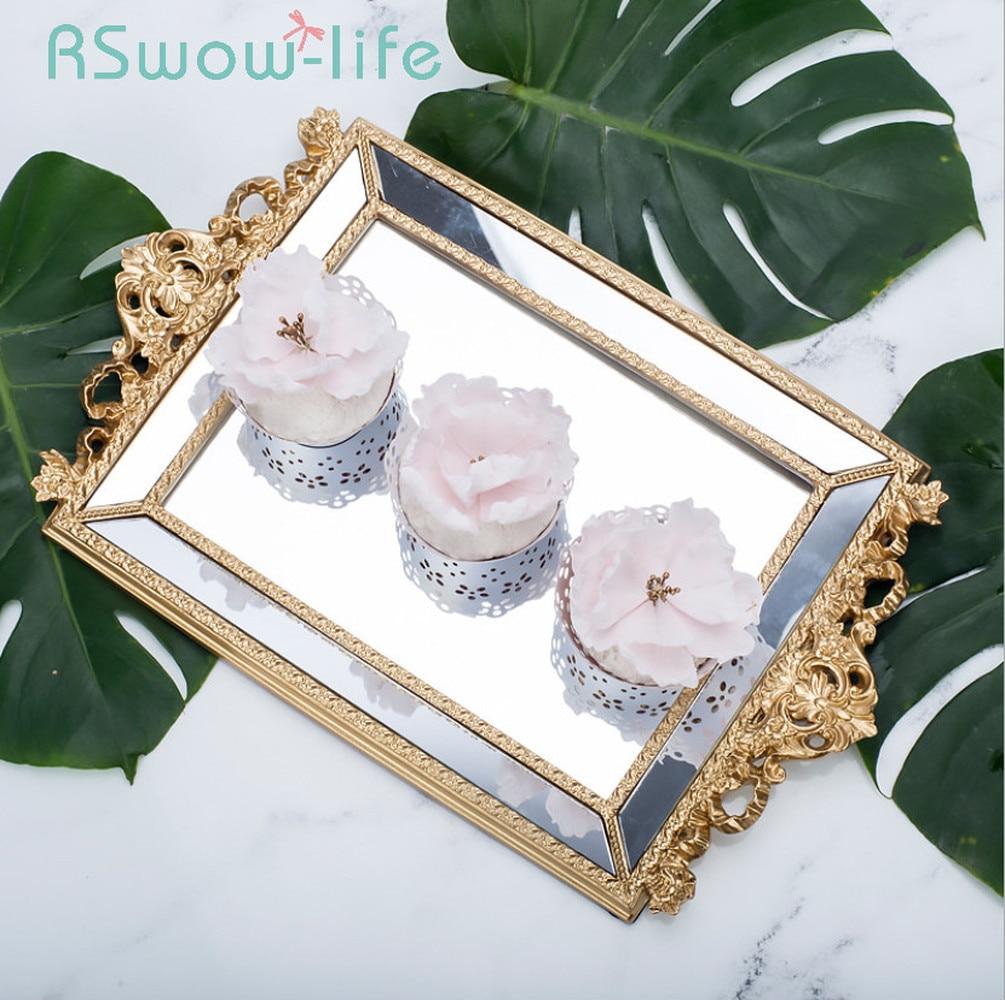 Plateau de rangement rectangulaire | Décoration de gâteau de mariage, présentoir de Dessert, plateau de bijoux cosmétiques, plateau de service, plateaux à desserts