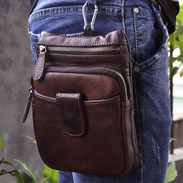 6c928a48499a Men Oil Wax Cowhide Shoulder Messenger Bag Vintage Casual Genuine Crossbody Fanny  Bags Male Hip Bum Hook Waist Belt Purse Pouch