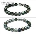 MYDEAR Women Pearl Bracelet Charm Natural 9-10mm Tahitian Pearls Strand Bracelets,Nice Luster Handwork Pearls Designer Jewelry