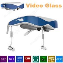 จัดส่งฟรี! G100 VRแว่นตาชุดหูฟังความเป็นจริงเสมือน3Dแว่นตาวิดีโอ1080จุดHDMI 98นิ้วสีฟ้า