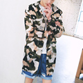 Summer thin long trench coat men women camouflage sunscreen breathable hooded jacket street fashion hip hop male cardigan