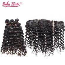 Brazilian Deep Wave Virgin Hair Brazilian Hair Bundles 3pcs With Lace Frontal 100%  Virgin Hair  7A Cheap Hair Weave Online