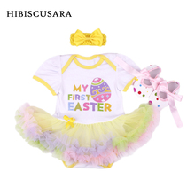 Easter Baby Clothing Sets Costumes Infant Girl 3pcs Outfits Headband Shoes Romper Dress Rabbit Easter Egg Baby Romper Santa