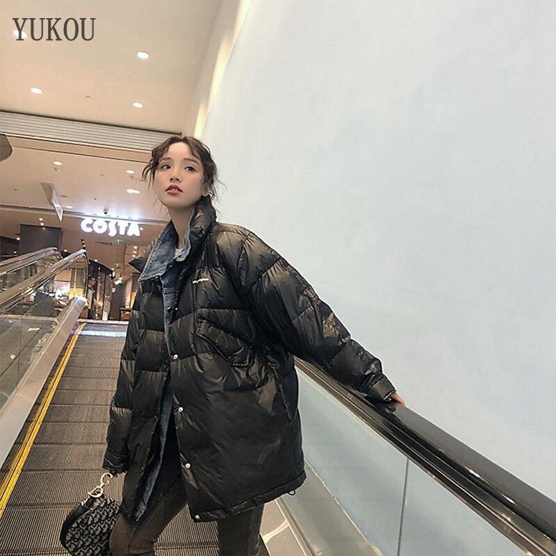 Women Duck   Down     Coats   Long 2019 Fashion Female High Quality White Duck   Down   Jacket Loose Version Keep Warm Cowboy Collar