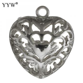 High Quality Jewelry Hollow Heart Pendants Flower Pattern Accessories Component 18x20x10mm Heart Beads Charm Silver Plated