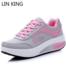 Купить с кэшбэком LIN KING Thick Sole Women Swing Shoes Casual Lace Up Ankle Wedges Single Shoes Comfortable Female Height Increase Platform Shoes