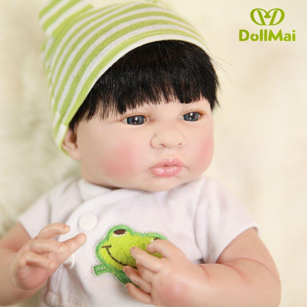 35 cm DOLLMAI Silicone Bebe Reborn poupée yeux bleus réaliste nouveau-né bébés mignon 14