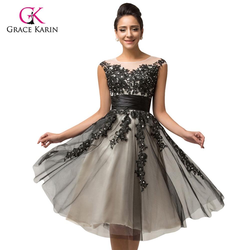 De luxe Sheer court noir Dentelle robe de Cocktail robes 2018 Grâce Karin  Cap manches pas cher robe de bal coctail robe 7581 3d74d2b754fa