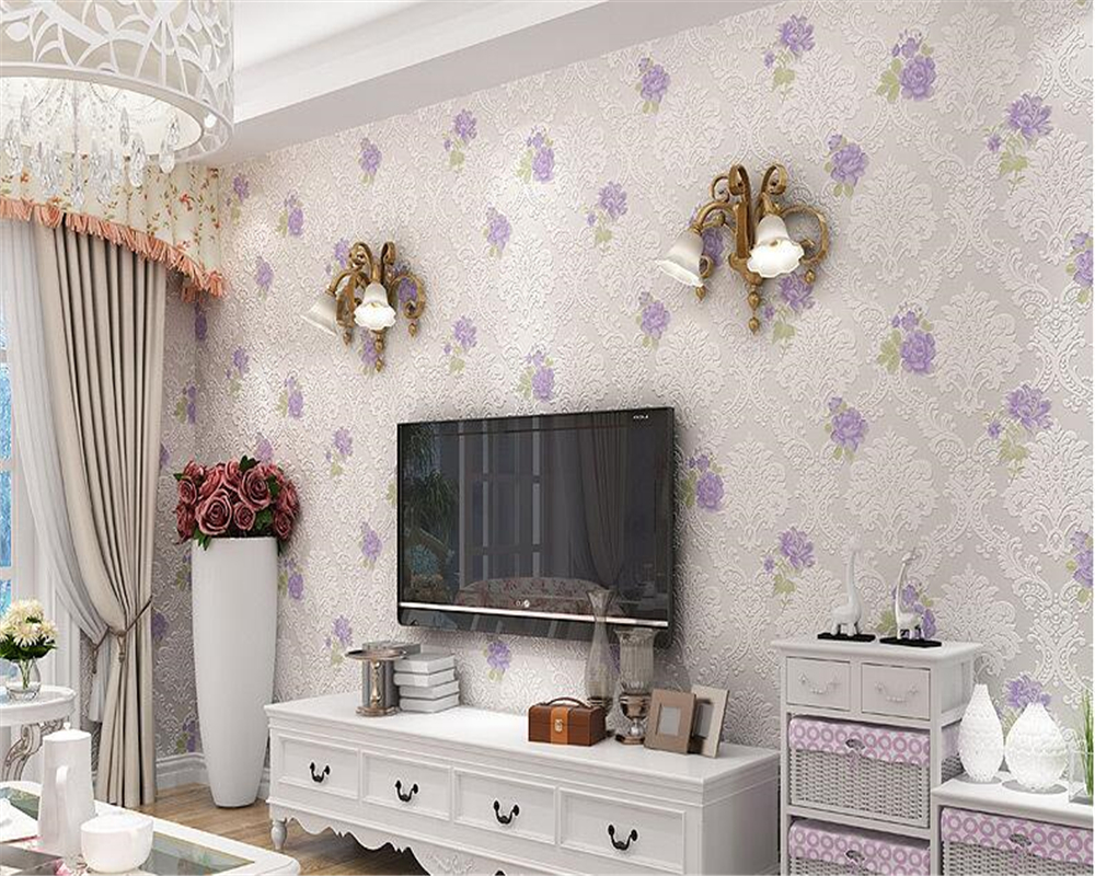 beibehang European style non-woven fabric 3d wallpaper bedroom living room clothing shop Rose Garden papel de parede wallpaper beibehang warm pink girl room wallpaper children s room non woven three dimensional love childrens clothing shop wallpaper